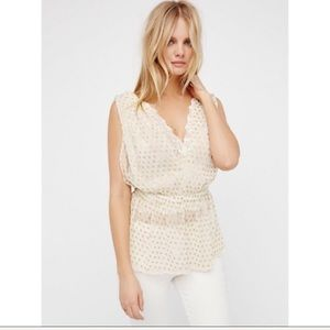 Free People Ivory Gold Star Lace Top Blouse